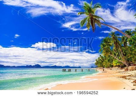 Tropical beach scenery - wild beautiful beaches of Philippines,