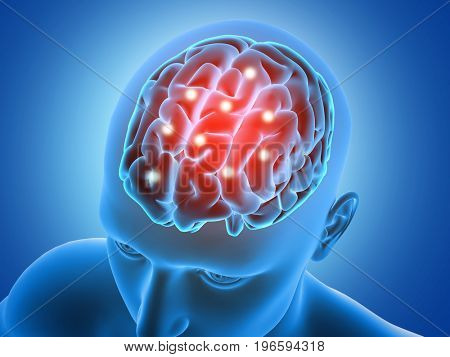3D medical background with male figure with brain parts highlighted