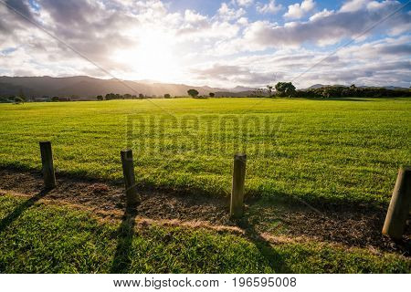 Sunrise on green with a fence