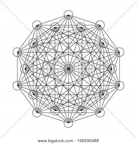 Interwoven pattern of geometric shapes. Vector illustration