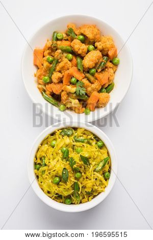 indian spicy food Gobi matar Masala or cauliflower curry with green peas or phool gobi fry and cabbage sabji with matar, selective focus