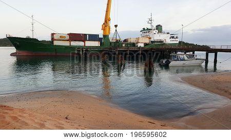 container ship at Seisia wharf Cape York Australia