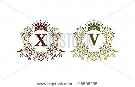 This image describe about Leaves Crown Initial X V