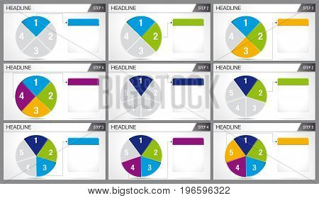 Circular pie divided into 3 equal parts and circular pie divided into 6 equal parts are illuminated in sequence on white background. Elements for infographics, use in presentation. Vector image