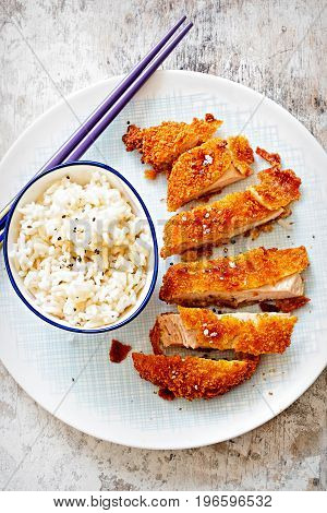 Crispy Katsu Chicken Curry with fragrant rice