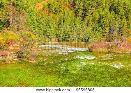 Autumn view of Pearl Shoals with pure water. Jiuzhaigou nature reserve Jiuzhai Valley National Park China.