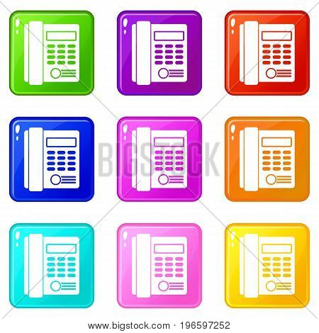 Office business keypad phone icons of 9 color set isolated vector illustration