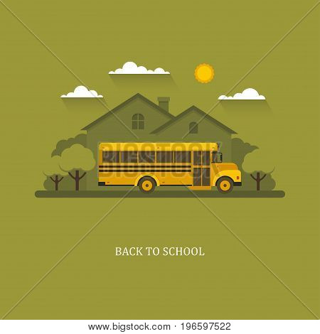 School bus flat illustration with suburban house and trees on a background.
