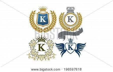 This image describe about Crown Shield Leaves Ribbon Wings Letter K