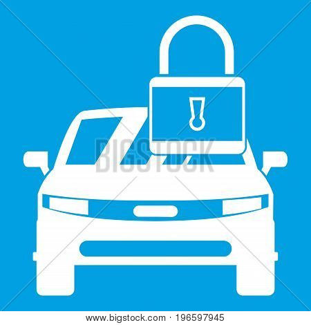 Car with padlock icon white isolated on blue background vector illustration