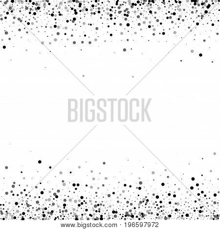 Dense Black Dots. Borders With Dense Black Dots On White Background. Vector Illustration.
