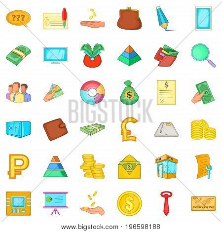 Banking icons set. Cartoon style of 36 banking vector icons for web isolated on white background