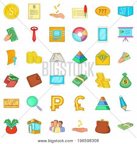 Bookkeeping icons set. Cartoon style of 36 bookkeeping vector icons for web isolated on white background