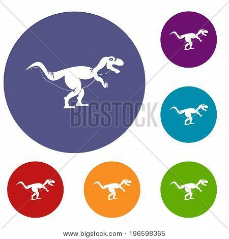 Tyrannosaur dinosaur icons set in flat circle red, blue and green color for web