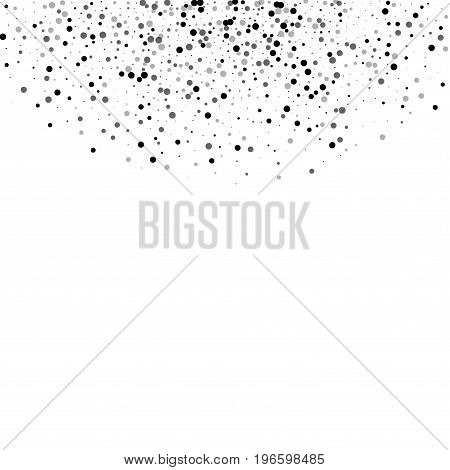 Dense Black Dots. Top Semicircle With Dense Black Dots On White Background. Vector Illustration.