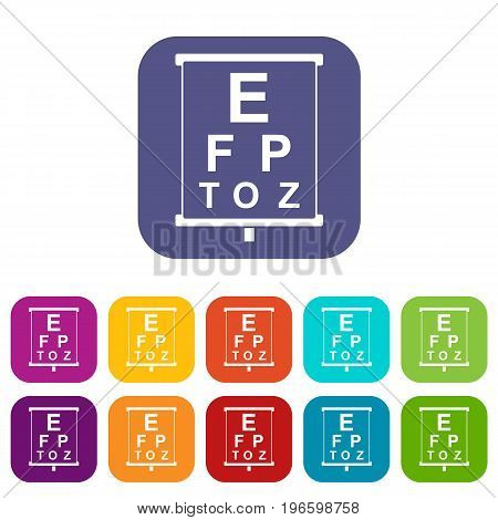White placard with letters eyesight testing icons set vector illustration in flat style in colors red, blue, green, and other