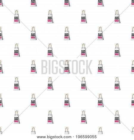 Shopping bag black friday sale pattern seamless repeat in cartoon style vector illustration