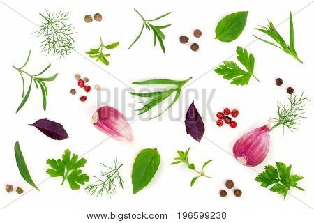 Fresh spices and herbs isolated on white background. Dill parsley basil thyme tartun peppercorns garlic. Top view.