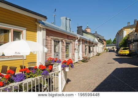 Porvoo, Finland-July 10, 2017: Wooden houses on the streets of Porvoo, a city dating from the 14th century