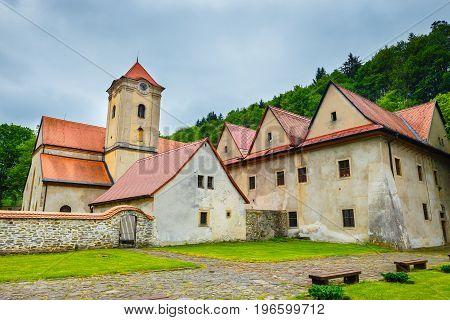 Famous Red Monastery called Cerveny Klastor in Pieniny mountains Slovakia