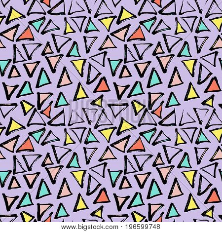 Abstract geometric seamless hand drawn pattern. Modern free hand texture. Colorful geometric doodle background. Semless backdrop.