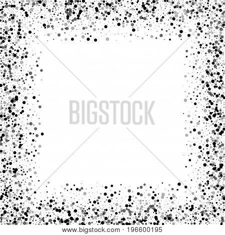 Dense Black Dots. Chaotic Border With Dense Black Dots On White Background. Vector Illustration.