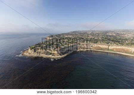 Aerial view of the Rancho Palos Verdes coast in Los Angeles County, California.