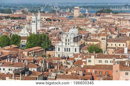 Venice historic center panoramic view with old churches domes and houses