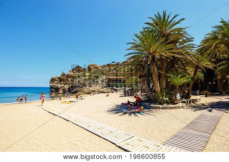 Crete Island, Greece, June 11, 2017: Famous Beach At Vai With A Beautiful Palm Forest On East Crete,