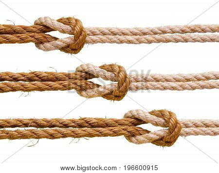 Three reef knots. Set of ropes isolated on white