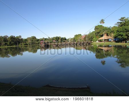 Landscape of the lagoon Ernani José in Brazil