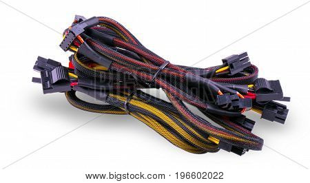 Computer communication cables isolated on white background