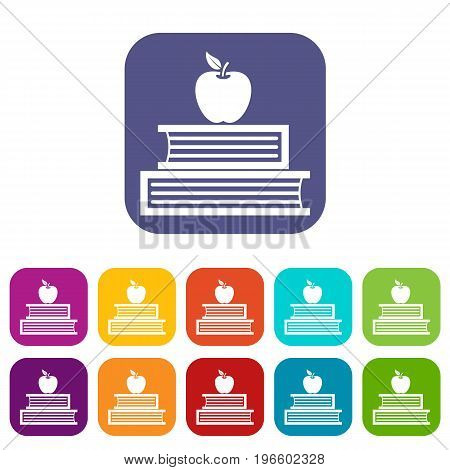 Books and apple icons set vector illustration in flat style in colors red, blue, green, and other