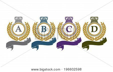 This image describe about Crown Leaf Ribbon Initial A B C D