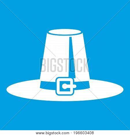 Pilgrim hat icon white isolated on blue background vector illustration