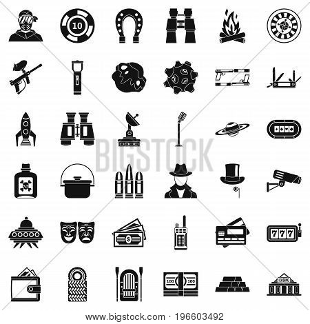 Game for man icons set. Simple style of 36 game for man vector icons for web isolated on white background