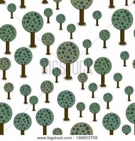 seamless pattern of geometric trees. vector illustration