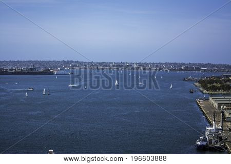 San Diego, California Bay with many sailboats on the water