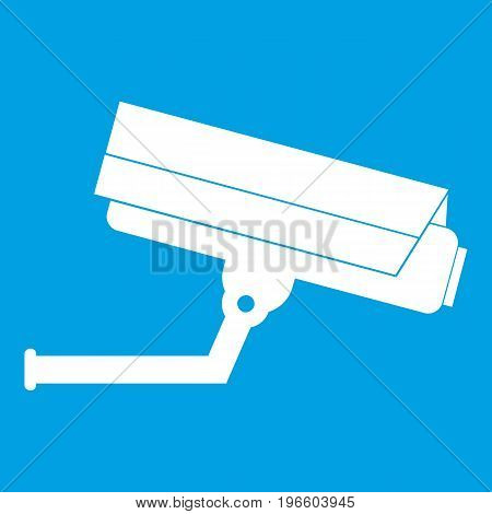 Surveillance camera icon white isolated on blue background vector illustration