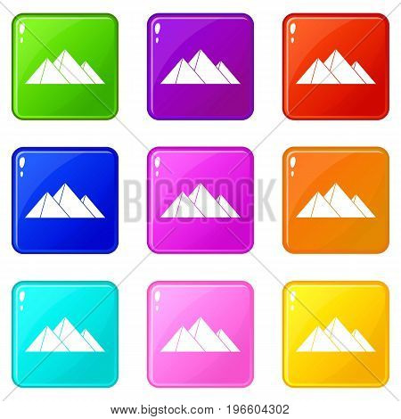 Pyramids icons of 9 color set isolated vector illustration