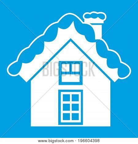 Small snowy cottage icon white isolated on blue background vector illustration