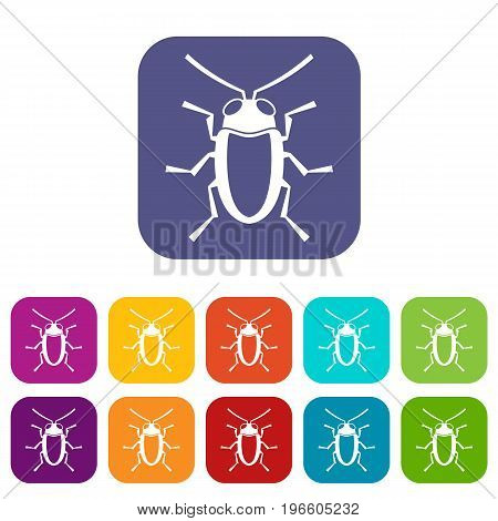 Longhorn beetle grammoptera icons set vector illustration in flat style in colors red, blue, green, and other