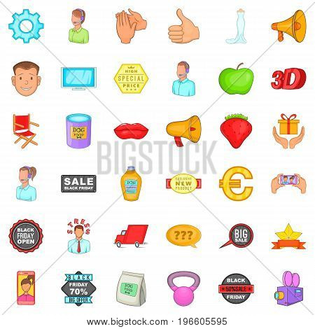 Advertising for sale icons set. Cartoon style of 36 advertising for sale vector icons for web isolated on white background