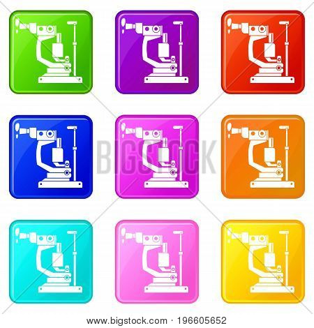Phoropter icons of 9 color set isolated vector illustration