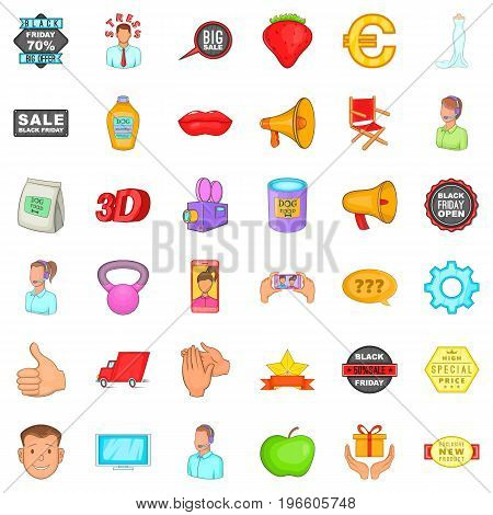 Different advertising icons set. Cartoon style of 36 different advertising vector icons for web isolated on white background