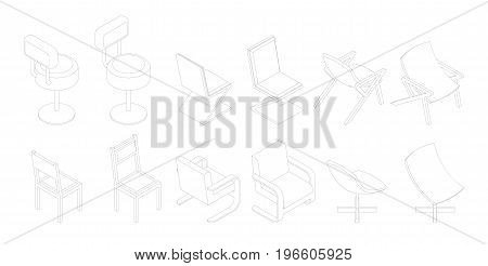 Isometric Outline Chairs Set. Bar, Office Vector Chair.
