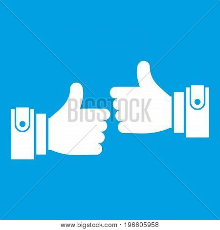 Male hands showing Ok sign icon white isolated on blue background vector illustration