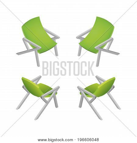 Isometric Modern Green Office Chair. Vector Illustration.