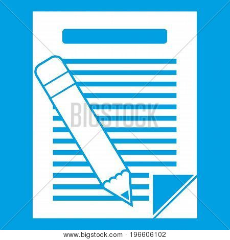 Paper and pencil icon white isolated on blue background vector illustration