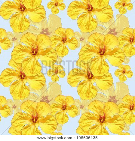 Hibiscus. Texture of yellow flowers. Seamless pattern for continuous replicate. Floral background photo collage for production of textile cotton fabric. For use in wallpaper covers